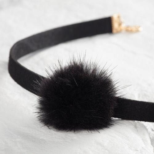 Black Pom Choker Necklace