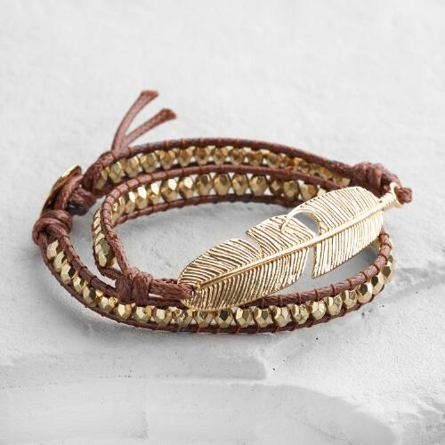 Gold Leaf Brown Wrap Bracelet