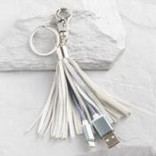 Silver iPhone Charger Tassel Keychain