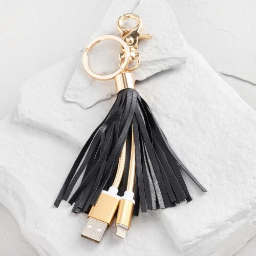 Black iPhone Charger Tassel Keychain