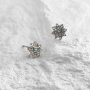 Silver and Turquoise Star Stud Earrings