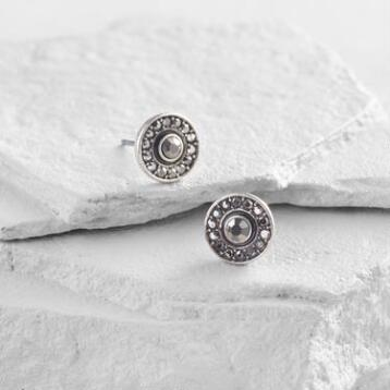 Silver and Hematite Stud Earrings