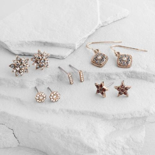 Gold Starburst Earrings Set of 5