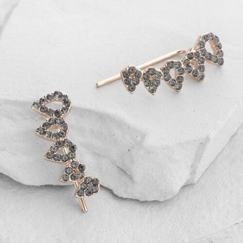 Gold and Gray Crawler Earrings