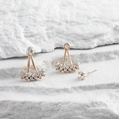 Gold and Diamond Jacket Earrings