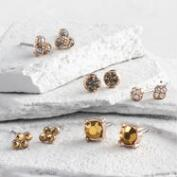 Gold Jeweled Stud Earrings Set of 6