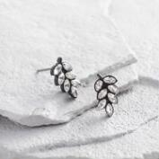 Rhinestone Leaf Stud Earrings