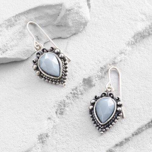 Silver and Blue Drop Earrings