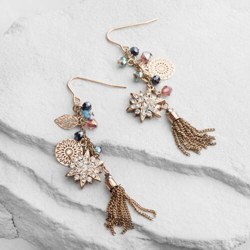 Star and Tassel Drop Earrings