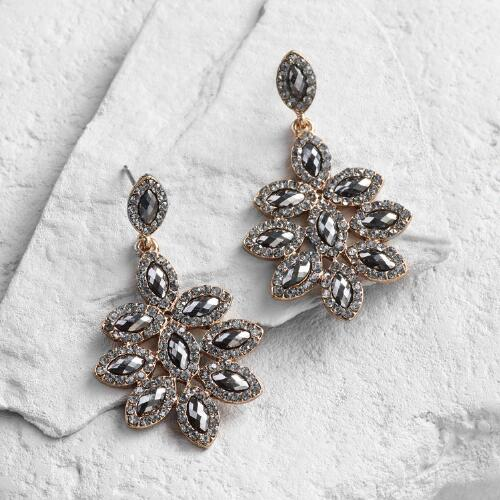 Hematite Flower Chandelier Earrings