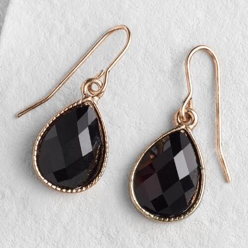 Black Teardrop Drop Earrings