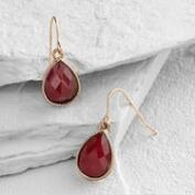 Garnet Teardrop Drop Earrings