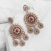 Gray and Red Chandelier Earrings