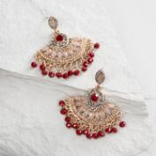 Gray and Red Dangle Chandelier Earrings