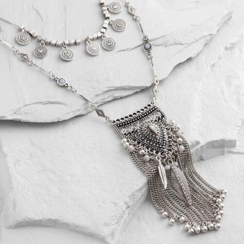 Silver Charm Layered Necklace
