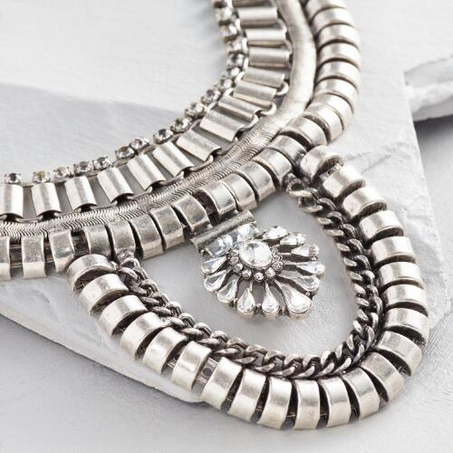Silver Links Statement Necklace