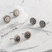 Silver Rhinestone Stud Earrings Set of 3