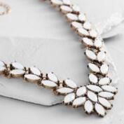 Long White Opal Statement Necklace