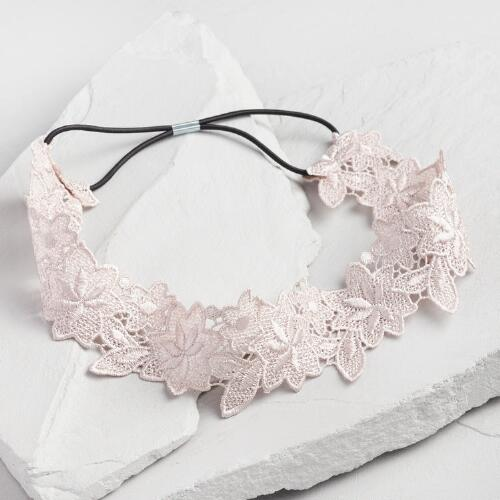Light Gray Floral Lace Headband