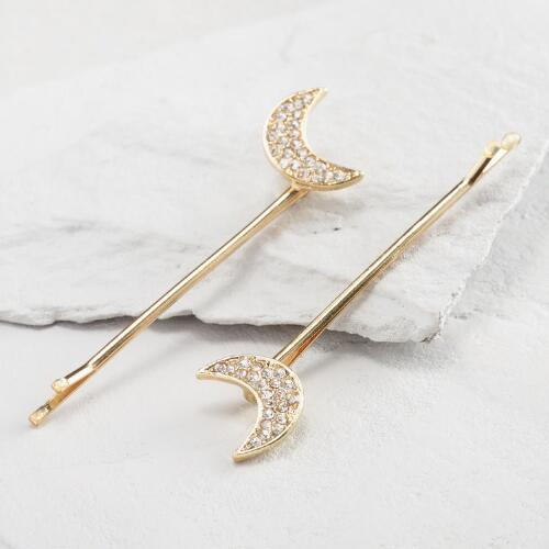 Gold Moon Hair Pins Set of 2