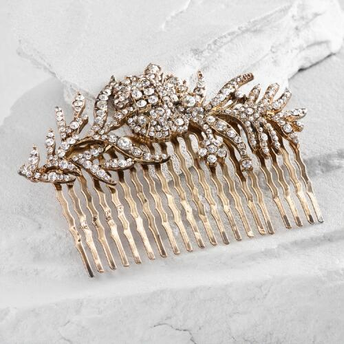 Gold and Rhinestone Hair Comb
