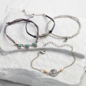 Silver and Blue Stone Bracelets Set of 4