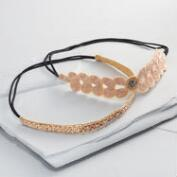 Pink and Gold Beaded Headbands Set of 2
