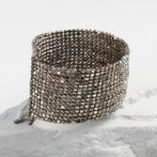 Gunmetal Metal Beaded Cuff Bracelet