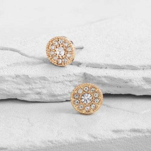 Gold and Diamond Round Stud Earrings