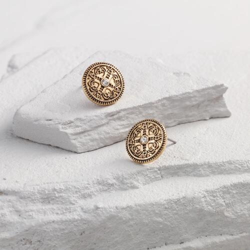 Gold Round Etched Stud Earrings