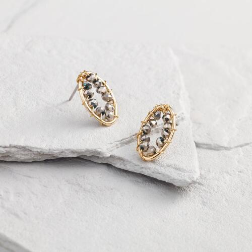 Gold and Hematite Oval Stud Earrings