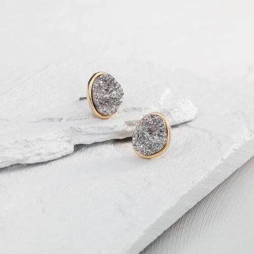 Gold and Pyrite Stud Earrings