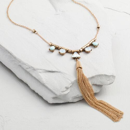 Mint and Gold Long Tassel Necklace