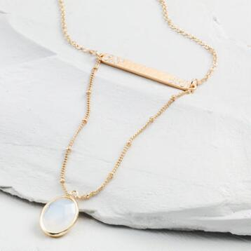 Gold Bar and Opal Stone Necklace