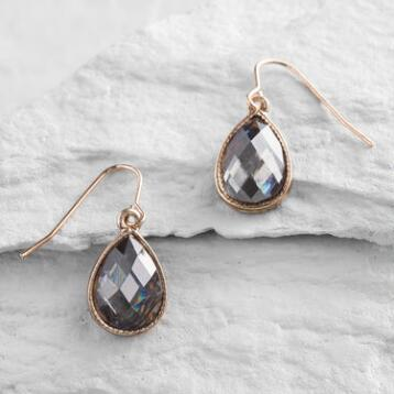Gray Teardrop Drop Earrings