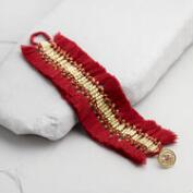Red and Gold Fringe Bracelet