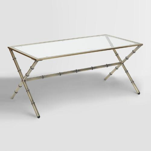 Antique Brass And Glass Sana Coffee Table