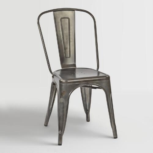 Galvanized Metal Ira Dining Chairs Set of 2