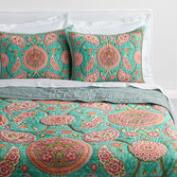 Teal Paisley Reversible Amaira Quilt