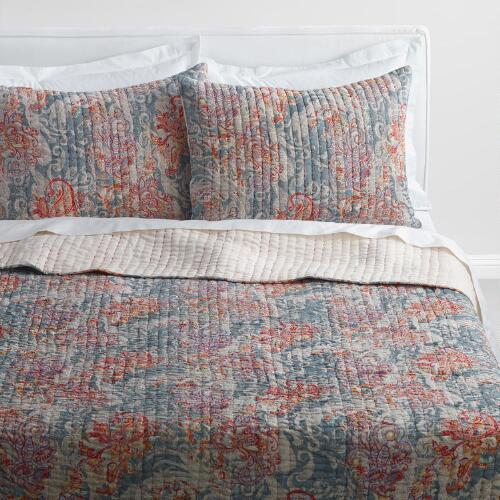 Gray Paisley Kantha Embroidered Ishani Quilt