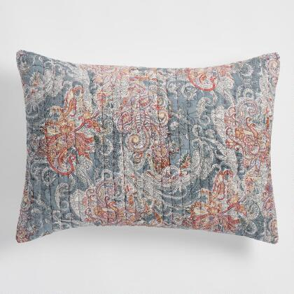 Gray Paisley Kantha Embroidered Ishani Pillow Shams Set of 2