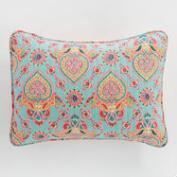 Coral and Aqua Bhuti Priti Pillow Shams Set of 2