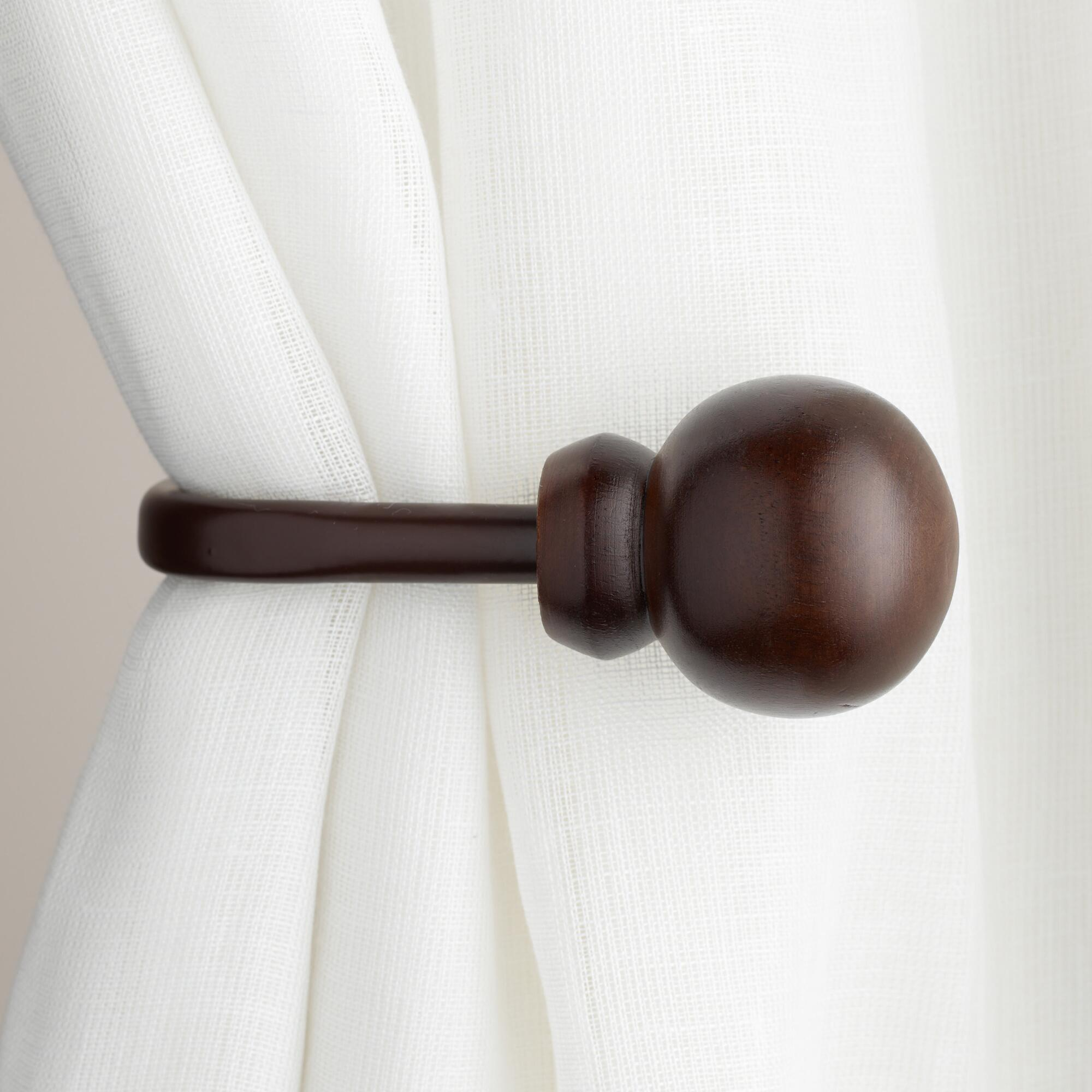 mahogany wooden ball holdbacks set of 2 world market With wooden curtain holdbacks