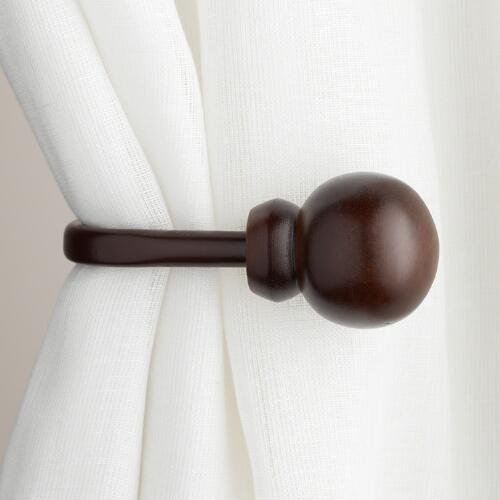 Mahogany Wooden Ball Holdbacks, Set of 2