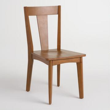 Brown Wood Weston Mid Century Dining Chairs Set of 2