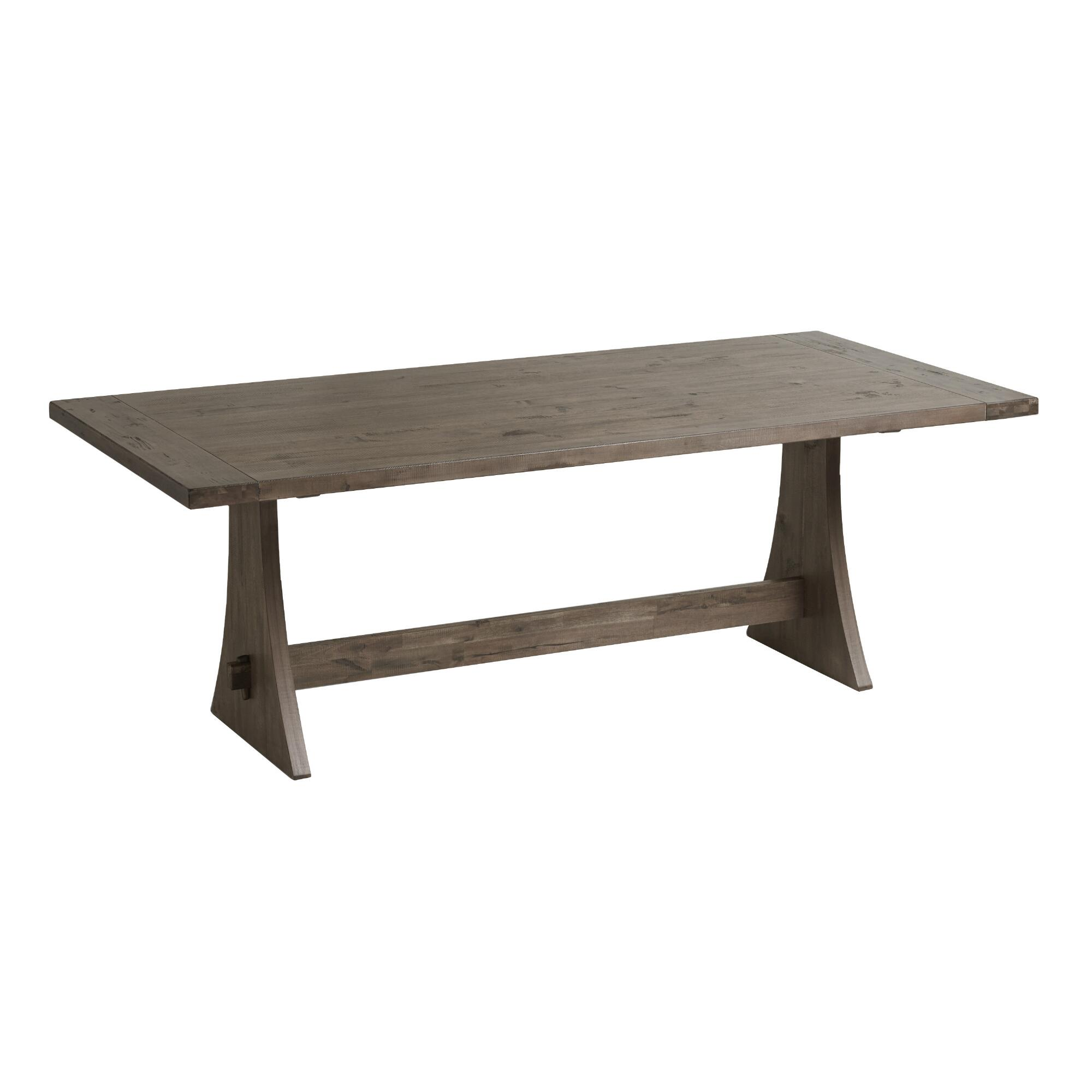 Rustic wood brinley fixed dining table world market Rustic wood dining table