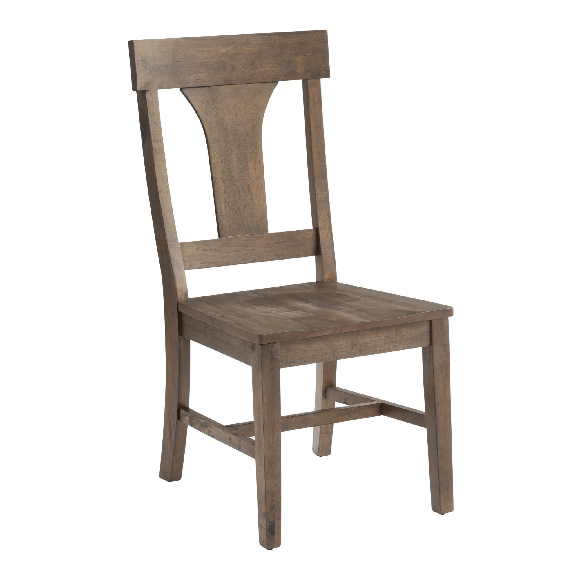 Rustic wood brinley dining chairs set of 2 world market for Wooden dining room furniture