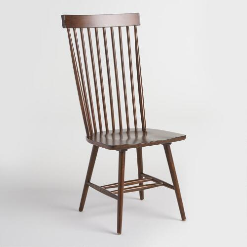 Mahogany Wood Kamron High Back Windsor Chairs Set of 2