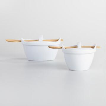 Mini White Ceramic Bakers with Lids and Spoons Set of 2