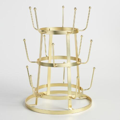 Gold Wire 3 Tier Glass Drying Rack